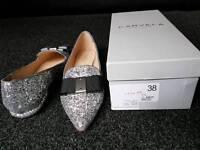 Ladies girls new kurt geiger size 5/38 silver glitter shoes