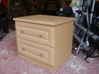 Bedside 2 Drawer Cabinets (2 Matching) - high quality, not flat pack, wood veneer, good condition