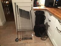 Golf clubs Taylormade Driver & 3 Wood, full set of Wilson ProStaff Irons plus putter, bag & extras