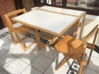 Drop leaf dining table and two chairs