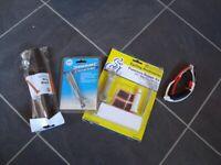 4 bike accessories - puncture repair kit tyre pump tyre lever velochampion glasses