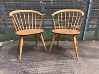 Mid century vintage Ercol cowhorn dining chairs