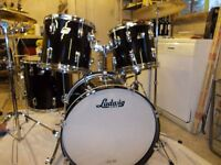 LUDWIG DRUMSET SHELL PACK....BASS AND THREE TOM TOMS WITH FITTINGS.