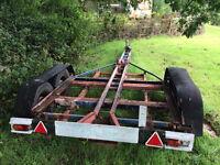 Four wheeled, braked road trailer built for 24ft, bilge keel, sailing boat. £995