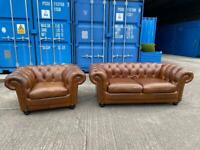 Beautiful Chesterfield Sofology Stamford Brown Leather 2 Seater Sofa and Club Chair