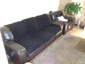 Leather three seater and two armchairs