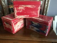 Hand Painted Red Boxes