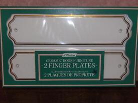 White ceramic door finger plates - 7 sets - new/still boxed - ideal for upgrading or renovation