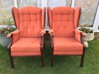 Pair of Quality Vintage/Retro Wing Back Chairs with Solid Wood Frames and Legs