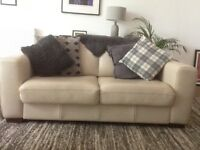 Contemporary Cream Leather 3 Seater/Double Sofa Bed
