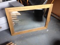 Large waxed wooden mirror