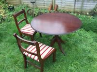 Mahogany table and 4 chairs