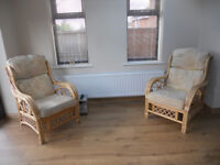 2 x bamboo/cane conservatory arm chairs