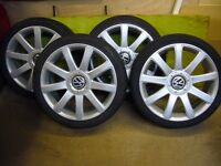 "Full set VW 18"" RS4 style 9 spoke alloy wheels x4 in mint condition."