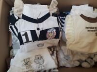 1 large box of boys baby clothes 0-3