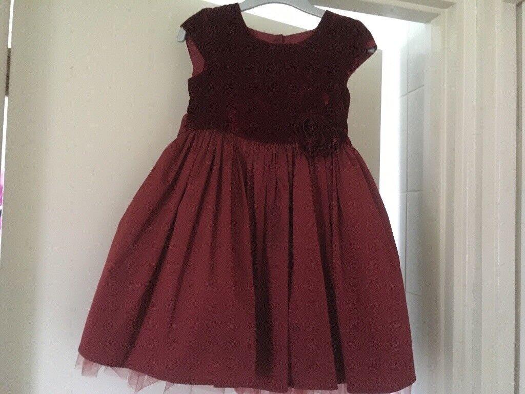 Next Girls 3-4 Velvet topped dress