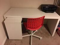 Large white desk with extension & chair