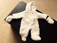 Baby Hooded Cream Faux Fur suit