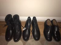 Men's new shoes/ boots size 10 . 2 pairs of black boots . 1 pair formal shoes . Buyer to collect .
