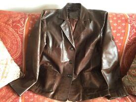 Brown Leather Jacket size Medium