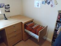 Two beech effect 2 drawer filing cabinets with inserts for A4 hanging files