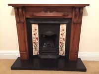 Fireplace and surround with tile inlay
