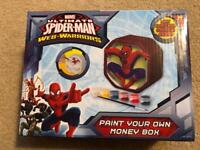 Never opened paint your own Spider-Man money box