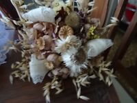 dried flower and hessian bridal bouquet