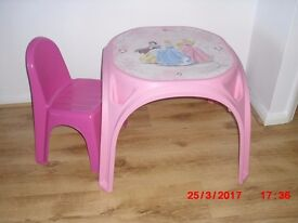 Pink study table and chair for kids