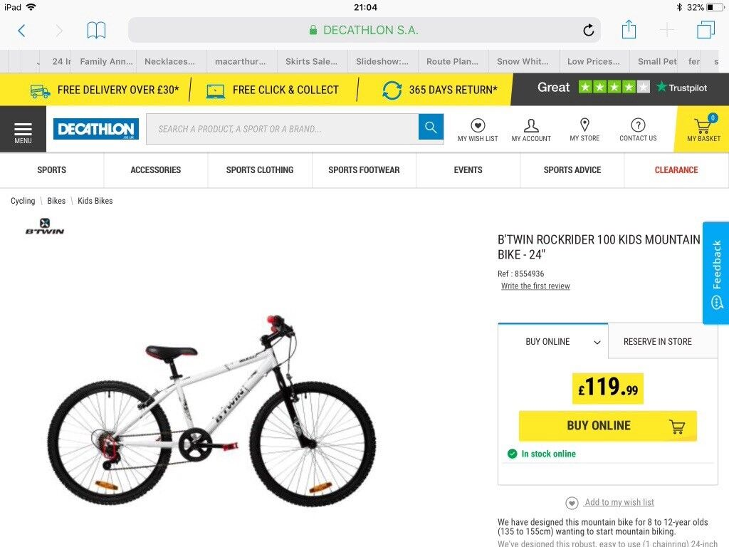 "36ae99667 New in box. Sell for £100. Kids 24"" Decathalon Bike. B TWIN ROCKRIDER 100  KIDS MOUNTAIN BIKE"