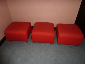 IKEA KLIPPAN STOOLS/POUFFES three in Red-orange covering