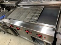 NEW 120 CM BBQ KEBAB GRILL + FLAT PLATE CATERING COMMERCIAL KITCHEN PERI PERI CHICKEN
