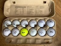 Mixed bag of 12 pre owned Golf Balls in good condition