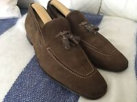 Mens Shoes Brown / Dark Khaki Suede loafer shoes leather soles Size 9.5 - 10 Collezione