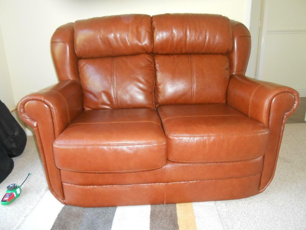2 seater brown leather sofa for sale in narborough for Tan couches for sale