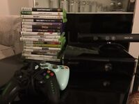 XBOX WITH KINECT AND GAMES AND 2 CONTROLLERS fully working