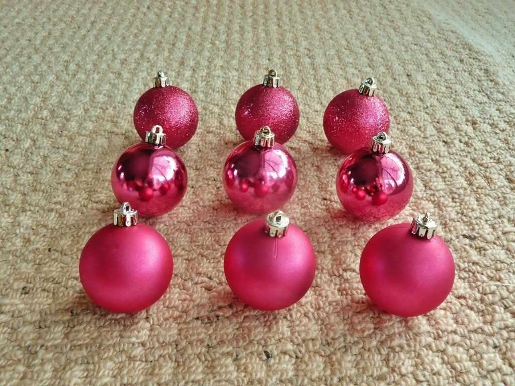 9 Pink Mini Baubles Christmas Tree Decorations Xmas Tree Ornaments