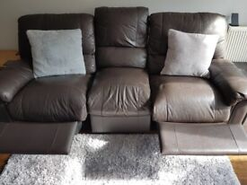 BROWN LEATHER 3 & 2 SEATER RECLINER SOFAS