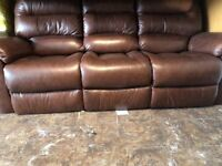 Real Leather Sofa 3 Seater in Excellent condition