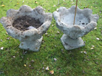 Old Weathered Vintage Stone Shaped Urns Garden Planters One matching pair, 1950s