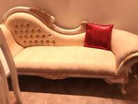 Italian Chaise langue sofa suite for sale three seater gold and cream colour v good condition