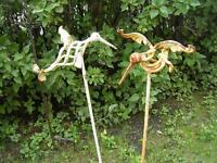 HEAVY CAST METAL HUMMINGBIRD GARDEN PATIO STAKES $20.00 EA.