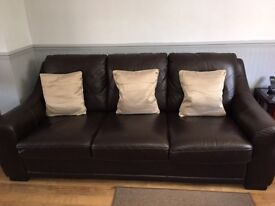 Leather 3 seater Sofa + 2 chairs, leather coffee table & cube footstools for sale