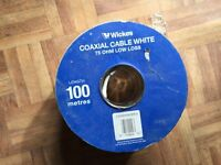 New 100 meters coaxial cable lead aerial 75 ohm TV Television satellite
