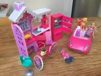 Barbie ski chalet, fridge, car, bike, dog & Barbie doll.