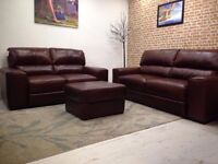 Porto brown Italian Leather 3 Seater And 2 Seater