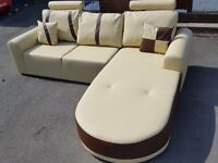 Lovely BRAND NEW cream and brown leather corner sofa .Modern design.can deliver