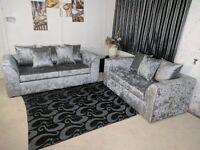 🔴🔵 Good Discounts on Dylan Sofas in Silver Crushed Velvet - Available in Corner and 3+2