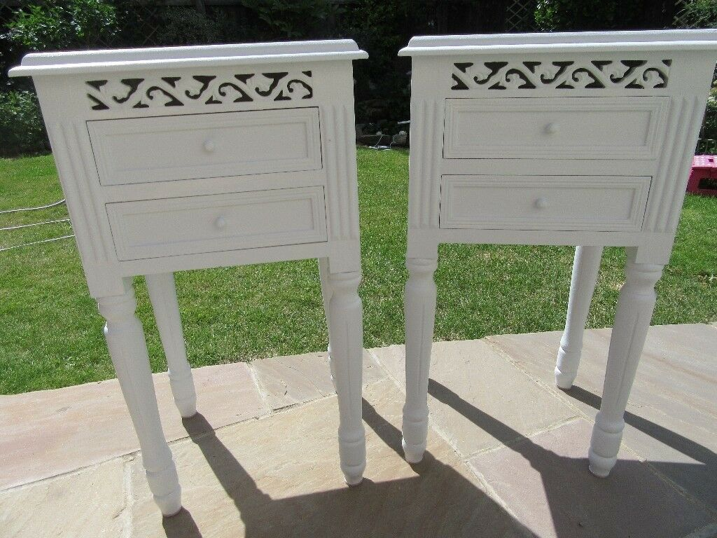Shabby Chic French Baroque Bedside Tables Finished In Laura Ashley Furniture Paint