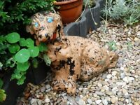 GARDEN ORNAMENT DOG LABRADOR? CONCRETE PAINTED IN NEED OF A NEW COAT AND TLC